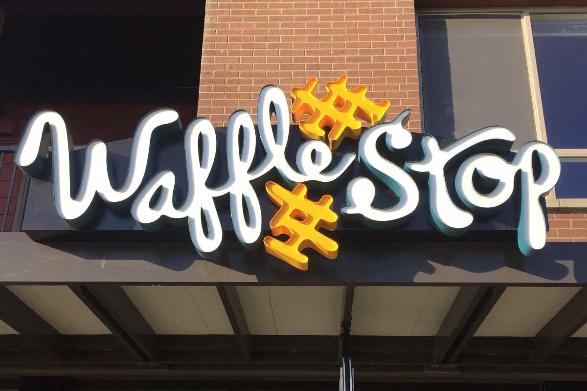 Waffle Stop Exterior Signage